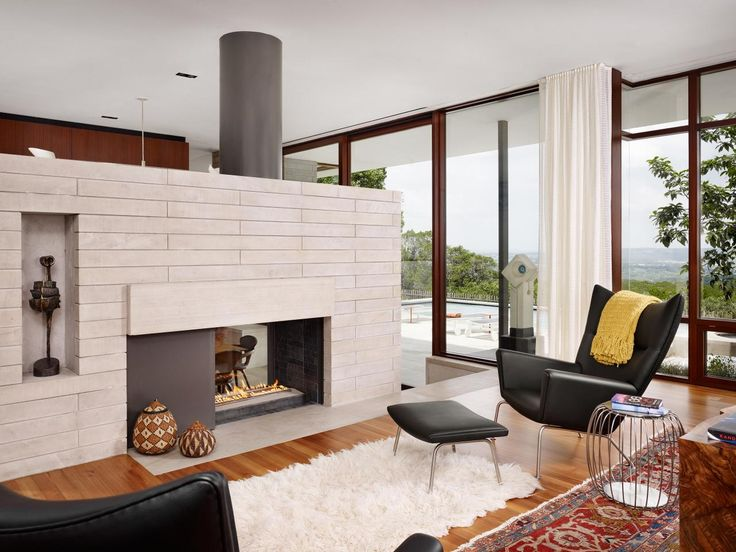 Danish Modern Fireplace Part - 28: Living Room : Mid Century Modern With Fireplace Pantry Hall Mediterranean  Compact Decks Landscape Designers Garage