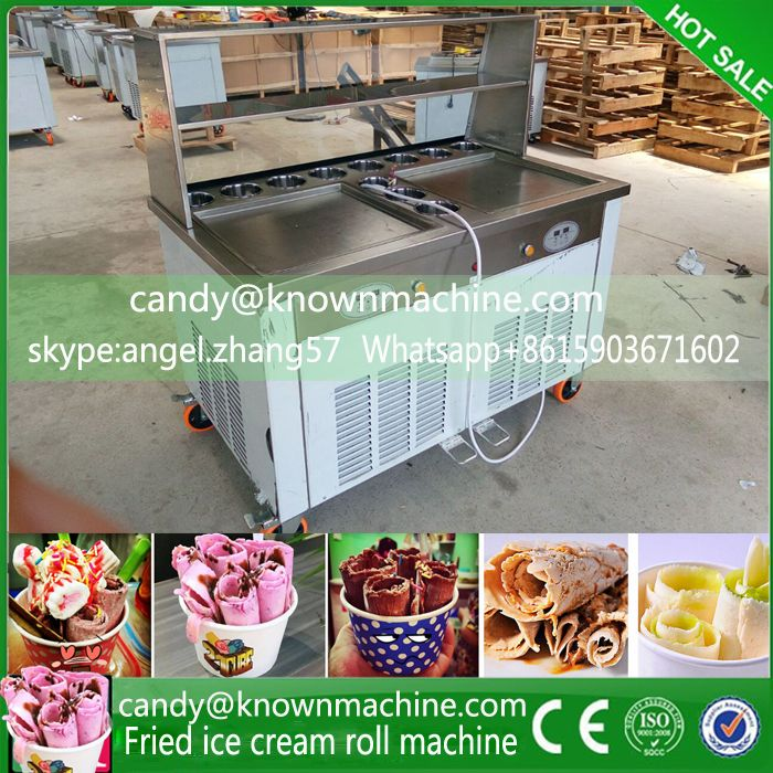 By Sea ship frying icecream machine with double pan with 11 tanks with double square pans with 4 pcs shovels