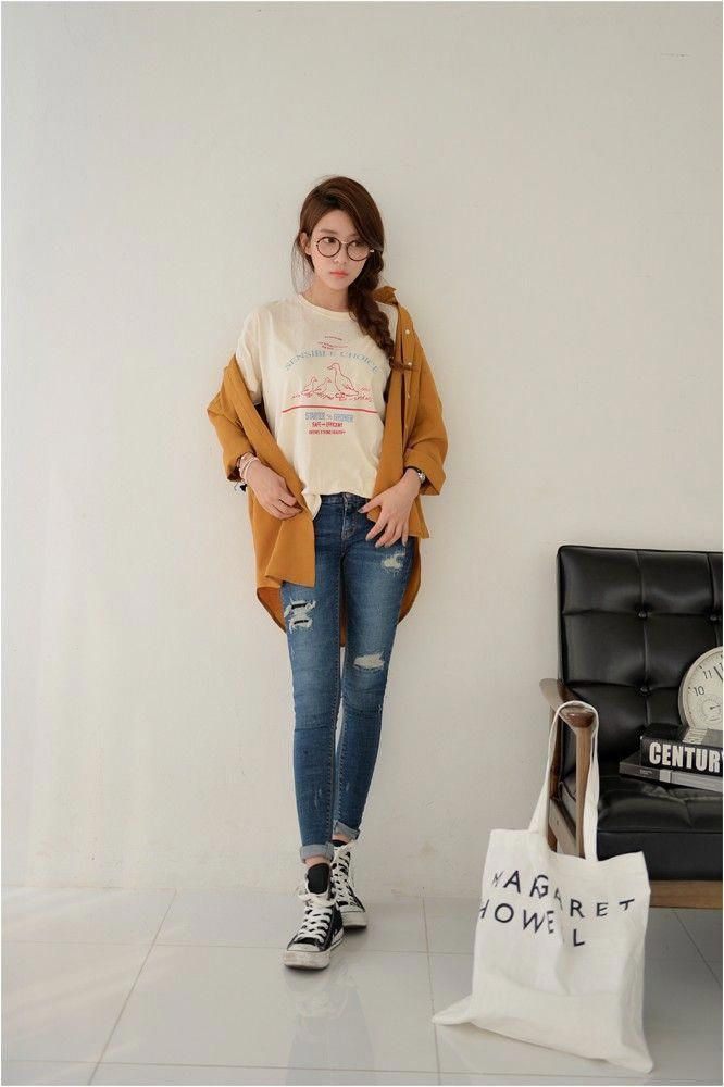 dcbbf3e7e8d98e Korean fashion - beigie print tee