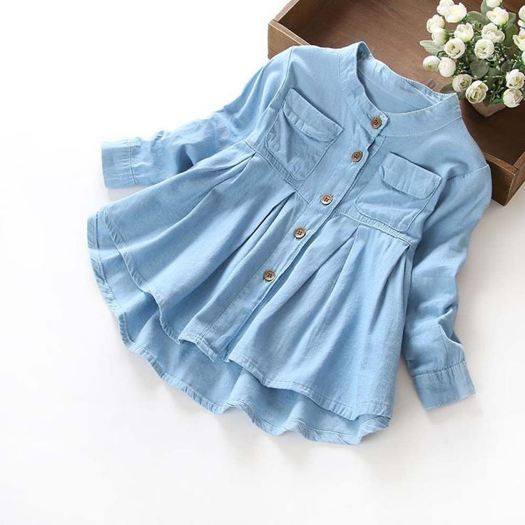 Toddler Child Baby Girls Denim Ruched Long Sleeve T-Shirt Tops Blouse Clothing