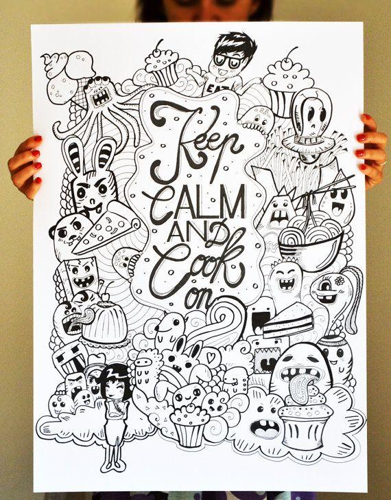 Keep calm and cook on  Illustrazione di RomeoJulietstudio su Etsy