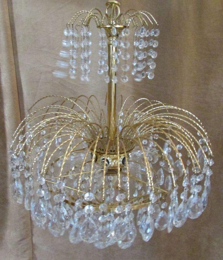 "Crystal Chandelier 6 light gold tone 21"" ceiling fixture Portfolio Lighting #Portfolio #Traditional"