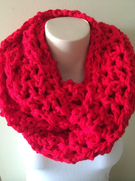 iScarf  Long Crocheted Infinity Scarf  Red by iHooked on Etsy