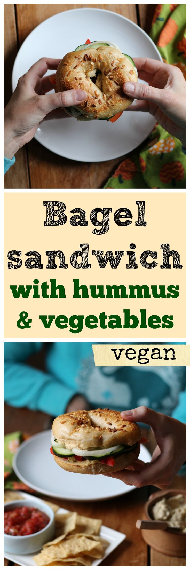 Fast & filling bagel sandwich with homemade hummus, cucumbers, onion, and red bell pepper. A great grab & go vegan lunch. | cadryskitchen.com