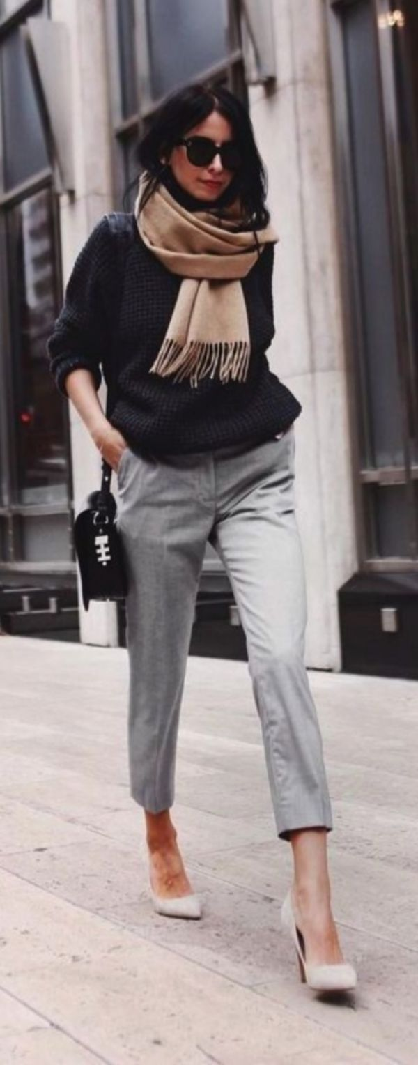 Grey Trousers are my Fav office wear    Casual Work Outfits    Fall Work Outfits…
