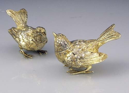 A Pair Of Sterling Silver German Bird Form Salt And Peppers With A Light  Gold Wash