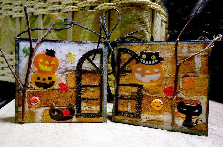 Две маленькие открыточки на Хеллоуин. Совсем не страшные. 😊Размер 6*6см.