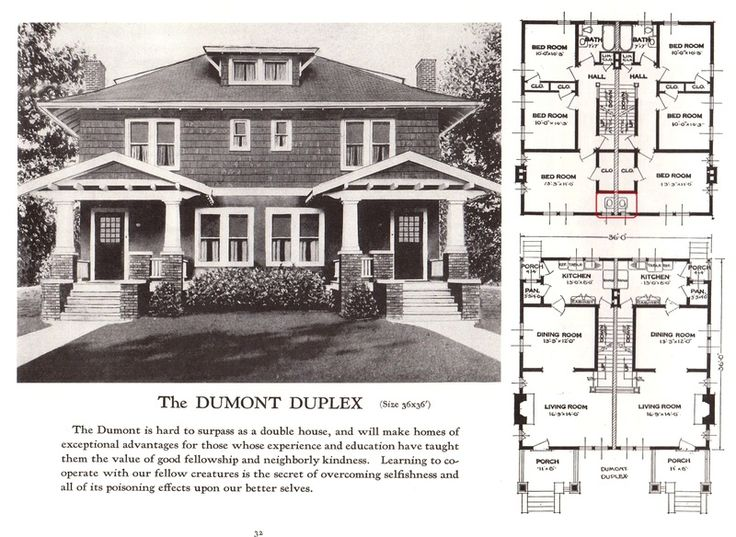 Dumont duplex 1920s sears homes floor plans for Duplex plans and cost