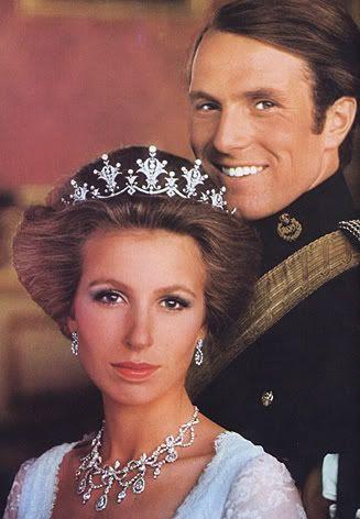 Princess Anne Mark Philips: Festoon Tiara and diamond necklace