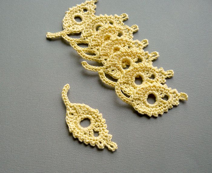 8 Maize Yellow Leaf Appliques -- Crochet Willow Leaves.