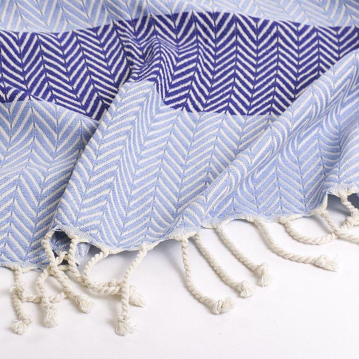 Herringbone Turkish – Light Blue & Navy – Close Up