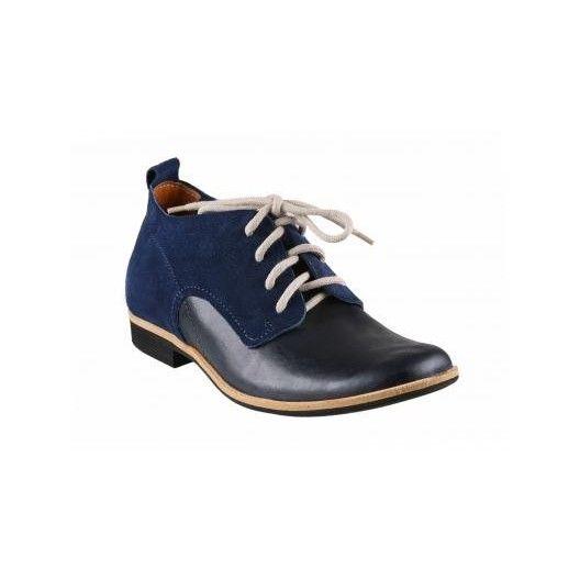 Pánske kožené topánky modro-čierne - fashionday.eu