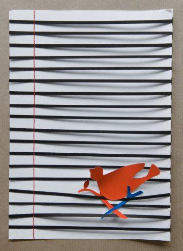 Bird on a wire 1  A4 van Whitepaperbird op Etsy