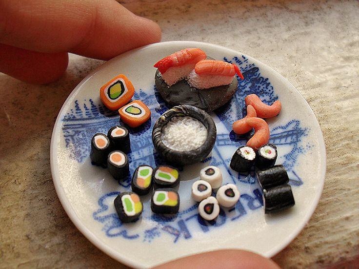 Sushi! Assorted nigiri and maki, delightfully tiny at 1:12 scale. Handmade from polymer clay
