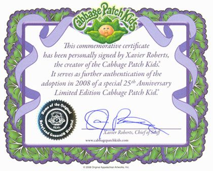 Cabbage Patch Kids Birth Certificate