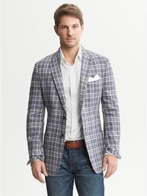Men's Grey Plaid Blazer, White Dress Shirt, Navy Jeans ...