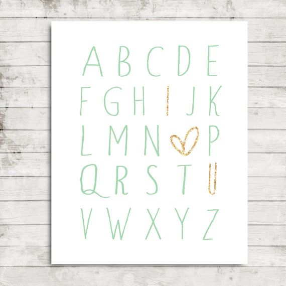 "Printable 8x10 Download | Mint Alphabet and Sparkly Gold ""I love you"" Nursery Wall Art Print #196"