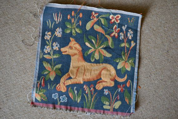 French Tapestry Square of Renaissance Hound Amid Wild Flowers, Reproduction of Renaissance tapestry for pillow, handbag or ?
