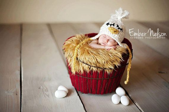 Sleepy Chicken Baby Hat winter hat with earflaps by LaKnitterie, $19.00