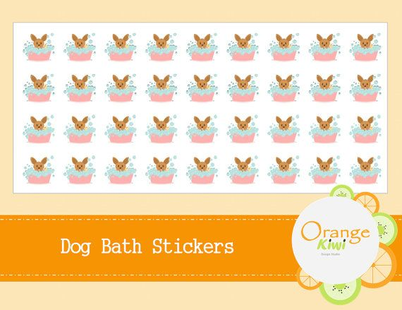 Dog Bath Stickers  Dog Grooming Stickers  by OrangeKiwiDesign