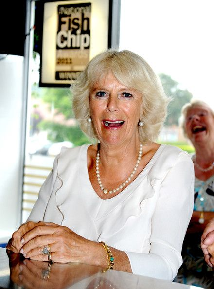 Camilla Parker Bowles - Camilla Parker Bowles Tours a Fish and Chips Establishment with her mouth open again.