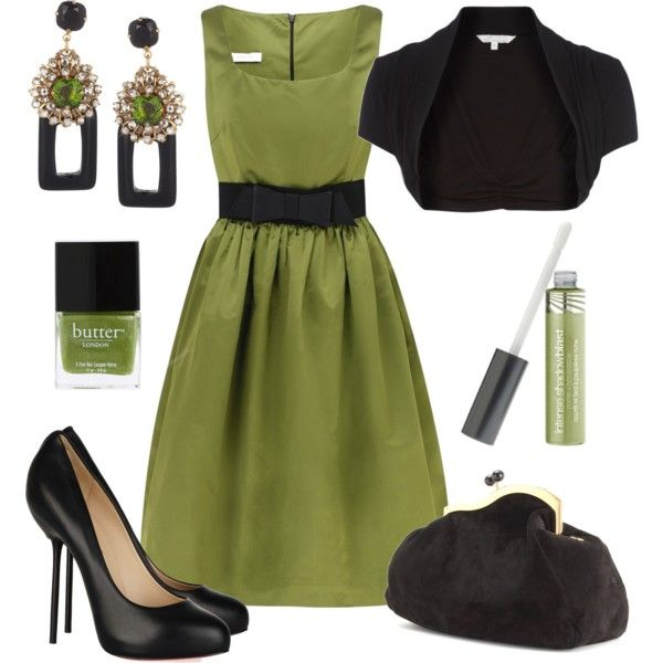 Cute: Style, Green Lips, Colors, Outfit, Nails Polish, Olives Green, The Dresses, Black, Green Dresses