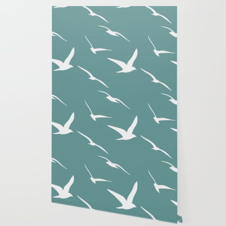 Seamless Pattern With Birds On Green Background, Teal