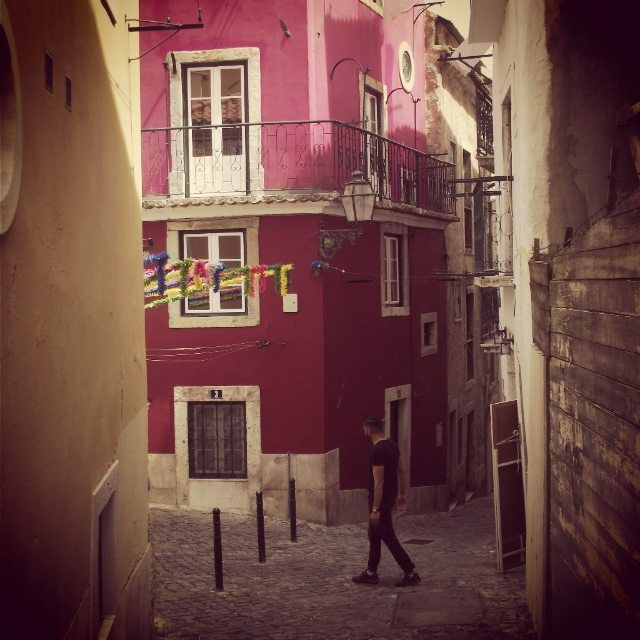 """Pink house"" Typical Lisbon(Lisboa)Street-Alfama. Photo by:ED D'Oliveira"