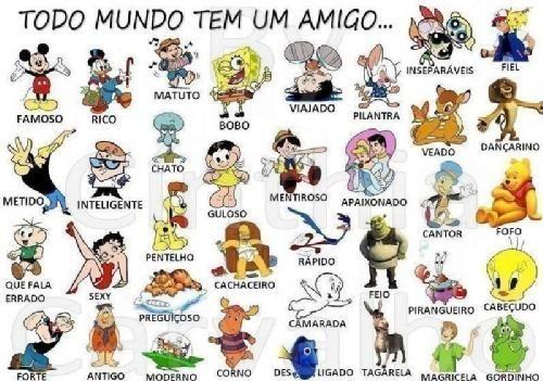 Todo+mundo+tem+um+amigo...+:+Começando+da+direita. Gordinho+(Fofis),+Cabeçudo+(Yan),+Fofo+(Léo),+Dançarina+(Mayume),+Fiel+(Bolinha),+Magricela+(Rafael+Harada),+Pirangueiro+(Yuri),+Cantor+(Bruno),+Veado+(Gustavo),+Inseperáveis+(Renato+e+Makoto),+Tagarela+(Maicon),+Feio+(Tiago+Nakamura),+Apaixonado+(Gel),+Pilantra+(Aurélio),+Desligado+(Renato),+Camarada+(Alex),+Rápido+(Hallan),+Mentiroso+(Hugo),+Viajado+(Jojo),+Corno+(?),+Cachaceiro+(Leandro),+...