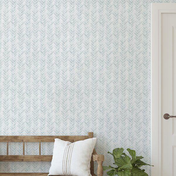 Magellan Watercolor Herringbone Paintable Peel And Stick Wallpaper Panel Herringbone Wallpaper Wallpaper Panels Peel And Stick Wallpaper