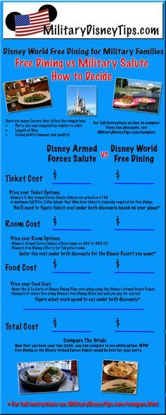 The Disney World Free Dining offer came out for Disney Visa cardholders this week and it should be available for everyone on the 7th.  I'm often asked which is the better deal, Free Dining or the Disney Armed Forces Salute.  Check out my post which covers this complicated subject: Disney World Free Dining for Military Families  http://www.militarydisneytips.com/blog/disney-military-discounts/disney-world-free-dining-for-military-families/