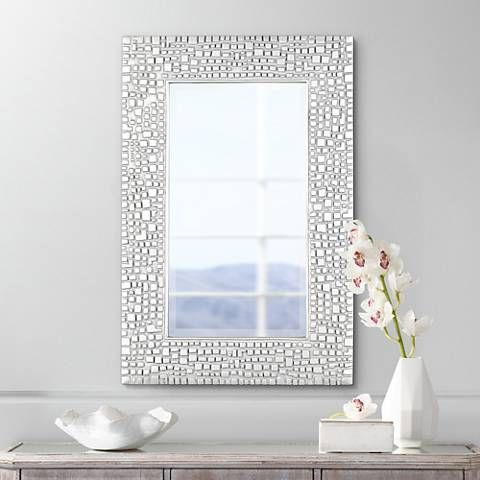 """Textured Relief 36"""" High Silver Wall Mirror - #T9616 