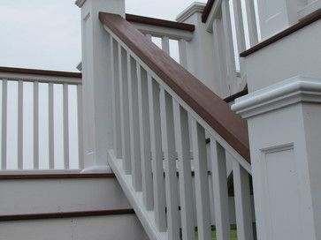 Stained Amp Painted Simple Stair Railing Stained Finish