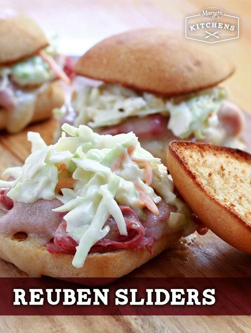 Reuben Sliders: With the help of Sister Schubert's Dinner Yeast Rolls, these sandwiches make a tasty meal. Jack Daniel's® Mustard and coleslaw are the perfect accompaniment to the corned beef and Swiss cheese. If you're feeding a crowd, make sure to double the recipe. No one will want to eat just one!