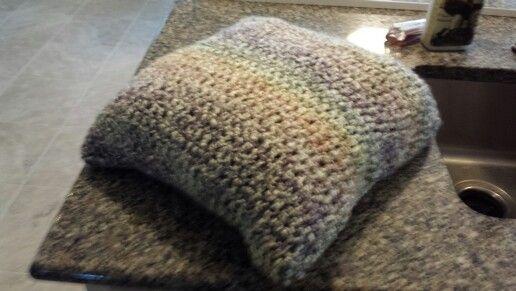 Ma's crocheting into pillowcase