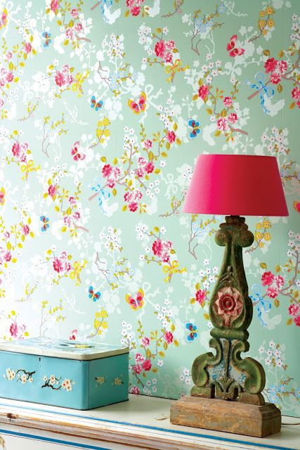 Papel pintado flores, mariposas #wallpapers #butterflies #flowers #mint…