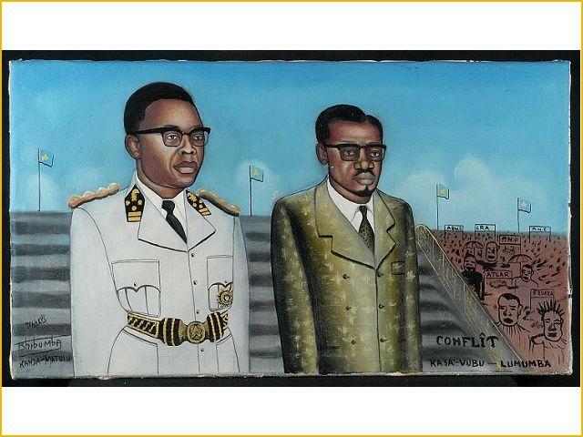 Tshibumba Kanda Matulu, Tijdens een bijeenkomst in het Koning Boudewijn stadion kondigde president Kasavubu, in uniform, in het openbaar het aftreden aan van eerste minister Lumumba. Collecties online - Tropenmuseum