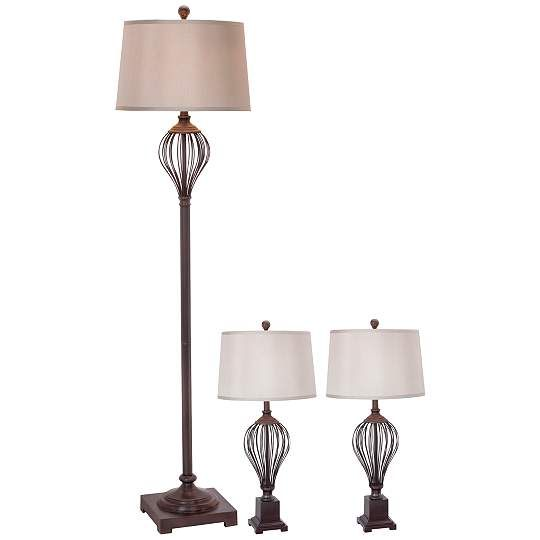 Maple Oil Rubbed Bronze 3-Piece Floor and Table Lamp Set