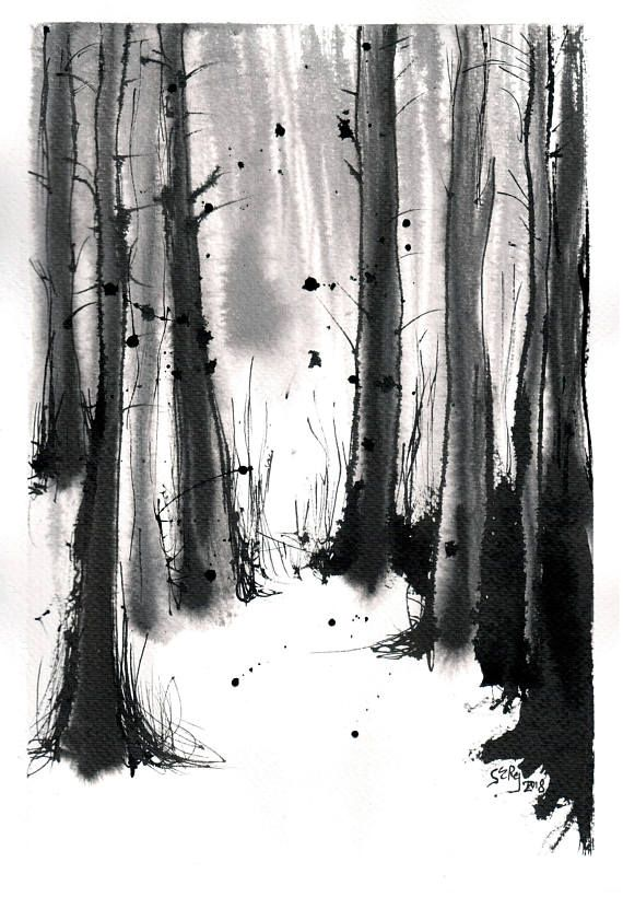 Forest Painting 8x12in A4 On Paper Black And White Watercolor