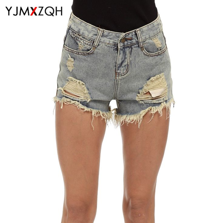 Denim Shorts Women Jeans Woman With High Waist Hot Pants Solid Summer Sexy Ragged Torn Mini Shorts Plus Size Short Jeans Fashion