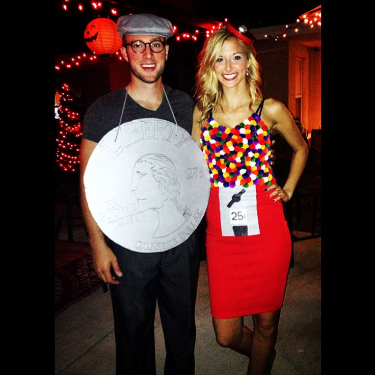 cute couple costume idea for halloween gumball machine and quarter got to try it on my own. Black Bedroom Furniture Sets. Home Design Ideas