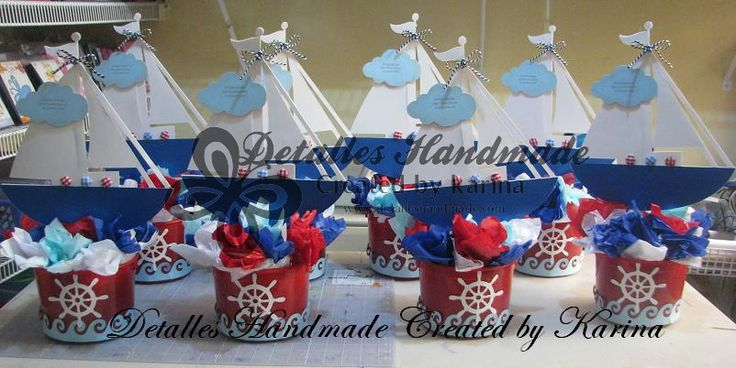Centro de mesa de barquitos marineros para baby shower - Imagui