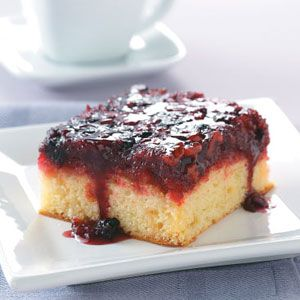 Upside-Down Berry Cake Recipe -This cake is good warm or cold and served with whipped topping or ice cream. It's very moist with loads of flavor and can be whipped up in just minutes. Enjoy! —Candy Scholl, West Sunbury, Pennsylvania