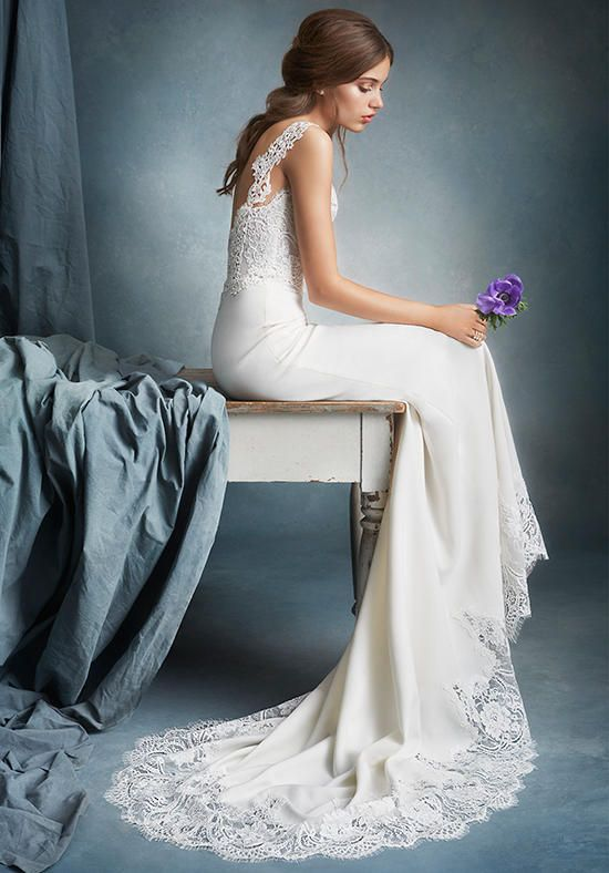 Ivory crepe trumpet gown, scalloped sweetheart bodice with Venise lace straps, Alencon lace hem detail and chapel train   Tara Keely   https://www.theknot.com/fashion/2603-tara-keely-wedding-dress