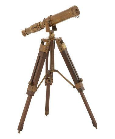 Look at this #zulilyfind! Brass & Wood Telescope Décor #zulilyfinds