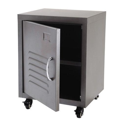 kuchenschranke auf rollen : Nachttisch im Industry-Stil aus Metall auf Rollen, B 37 cm, grau