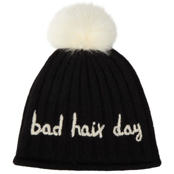 John Lewis Bad Hair Day Beanie, Black featuring polyvore, women's fashion, accessories, hats, beanie cap hat, john lewis, bobble beanie, bobble beanie hat and beanie hat