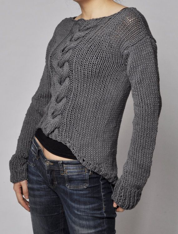 Hand Knit Sweater Patterns : Hand knitted sweater - Charcoal sweater cable pattern cotton sweater