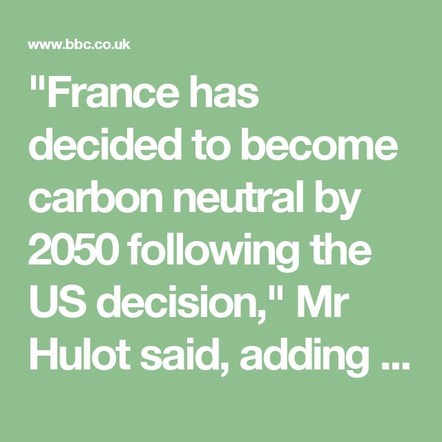 """France has decided to become carbon neutral by 2050 following the US decision,"" Mr Hulot said, adding that the government would have to make investments to meet that target."
