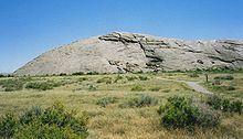 Oregon Trail - Wikipedia, the free encyclopedia.  Photo of Independence Rock, a landmark on the Oregon Trail.